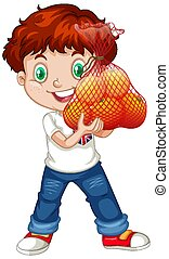 rouges, tenue, position, fruits, cheveux, debout, garçon, mignon