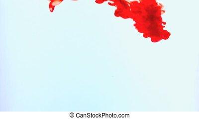rouges, tourbillonner, encre, eau