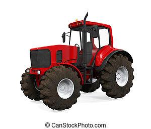 rouges, tracteur, isolé