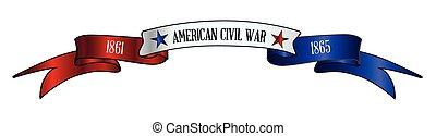 rouges, usa, guerre, ruban blanc, bannière, bleu, civil