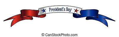 rouges, usa, jour, ruban blanc, bannière, présidents, bleu