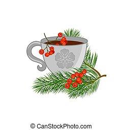 rouges, vecteur, rowan., pin, tasse thé, branches, illustration