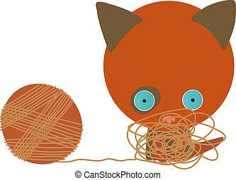 rouges, vecteur, w, illustration, chaton