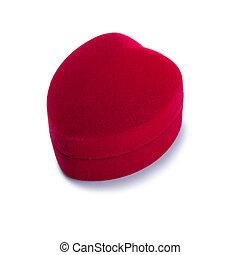 rouges, velours, boîte-cadeau, dans, forme coeur