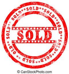 rouges, vendu, timbre, sur, fond blanc