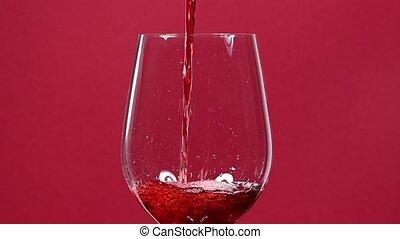 rouges, verser, fin, vin, haut, verre vin, sur