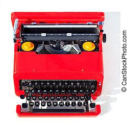 rouges, vieux, machine écrire
