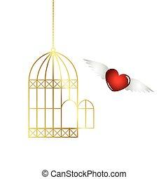 rouges, voler, dehors, cage, coeur, doré