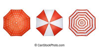 rouges, vue, parapluie, réaliste, ensemble, sommet, blanc