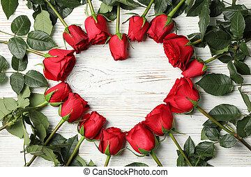 rouges, vue, roses, sommet, rustique, blanc, bois, coeur, fond