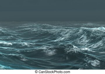 Rough blue ocean under dark sky - Digitally generated rough ...