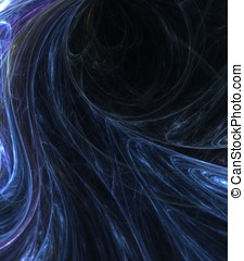 Rough Blues Abstract - Flowing, rough blue fibers - fractal...