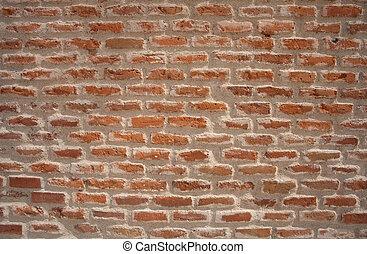 Rough brick wall.