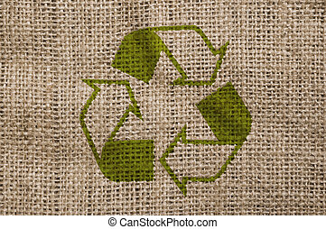 Rough canvas with recycle sign. - Rough old canvas with...