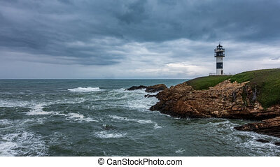 Rough coastline with lighthouse time lapse under the cloudscape