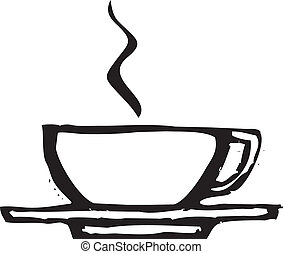 Rough Coffee Cup - rough woodcut image of a coffee or...