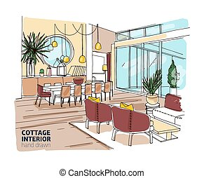 Rough colored drawing of house or summer cottage interior with comfortable furniture and home decorations. Hand drawn dining and living room with table, chairs, sofa, armchairs. Vector illustration.