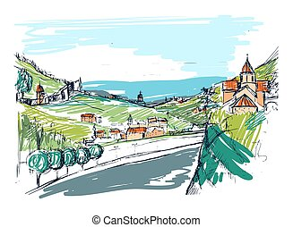 Rough draft of small Georgian town street, buildings and trees against mountains on background. Landscape with settlement located near hills hand drawn. Colored sketch vector illustration.