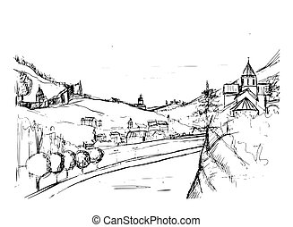 Rough draft of small Georgian town street, buildings and trees against mountains on background. Landscape with settlement located near hills hand drawn in monochrome colors. Sketch vector illustration