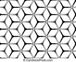 Rough drawing styled futuristic hexagonal grid - Rough...