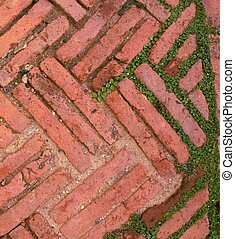 Rough dusty red brick path shows aged zigzagged architecture brickwork