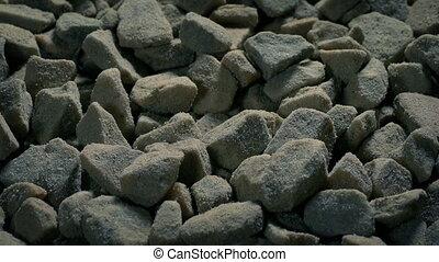 Rough Gravel Stones Moving Shot - Tracking shot moving ...