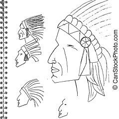 hand sketched illustration portrait of Indian man