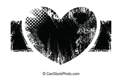 Rough Heart Banner Design - Romantic Heart - Grunge Vector...