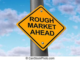 Rough market ahead - Rough stock market ahead road symbol...