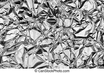 Rough Monochrome Crumpled Foil Texture. Metallic Black & White Background.