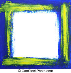 Rough oil-painted frame, blue with yellow brush strokes.