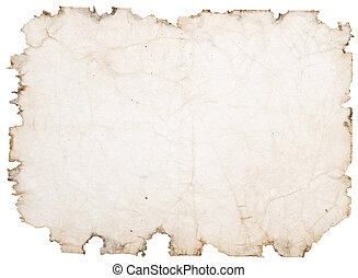 rough paper - old paper with rough edges isolated on white