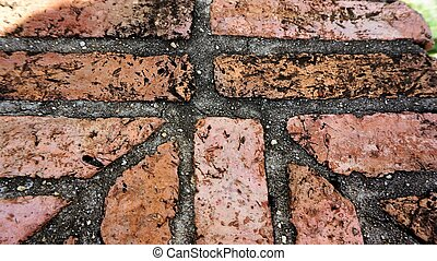 Rough red brick wall shows aged architecture brickwork