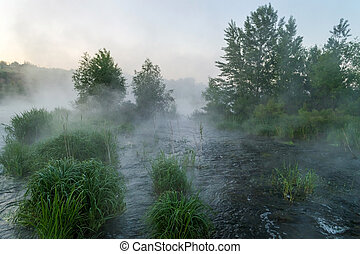 Rough river with fast-flowing in the fog and mist on the background