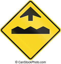 Rough Road Ahead In Canada - Canadian road warning sign -...