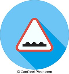 Rough road ahead - Road, sign, rough icon vector image. Can...