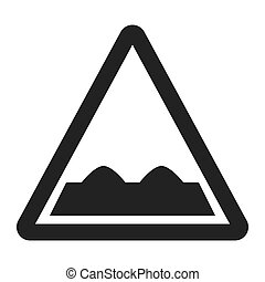 Rough road sign line icon, Traffic and road sign, vector...