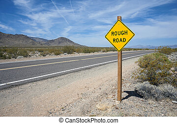 Rough Road Sign Mojave Desert