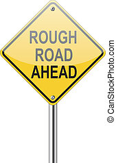 Rough road traffic sign on white