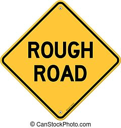 Rough Road Warning - Danger roadsign in yellow diamond...