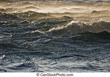 Rough sea - Waves on a dark blue sea at sunset