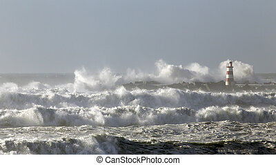 Rough sea with big waves - Rough sea with big stormy waves. ...
