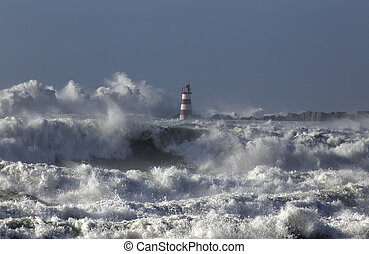 Rough sea with big waves