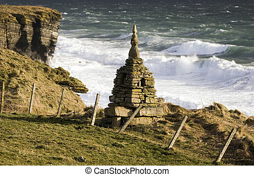Rough seas near Brough Head - Scotland - Rough seas near a...
