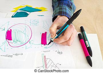 Rough Sketch - Left handed designer making a rough sketch of...