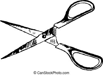 scissors - rough sketchy drawing style illustration of a...