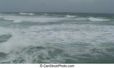 Rough Storm Surf - A high angle of a angry ocean with rough...