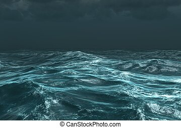 Rough stormy ocean under dark sky - Digitally generated ...