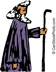 prophet - rough style drawing of a prophet from the bible,...
