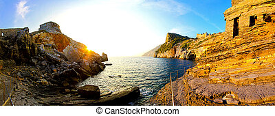 Liguria coast - Rough terrain of Liguria coast with big...